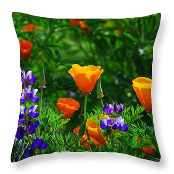 Lupines And Poppies Throw Pillow