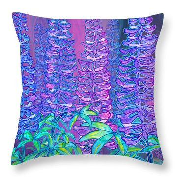 Throw Pillow featuring the mixed media Lupines by Teresa Ascone