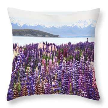 Throw Pillow featuring the photograph Lupins At Tekapo by Nareeta Martin