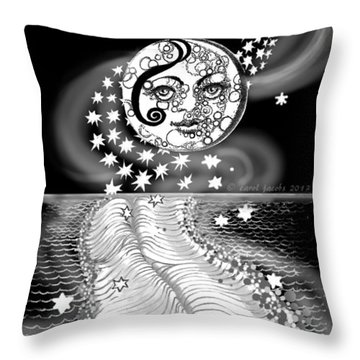 Throw Pillow featuring the digital art Lure Of Moonlight by Carol Jacobs