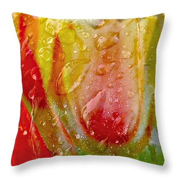 Luscious Tulips - Waterdrops Series Throw Pillow