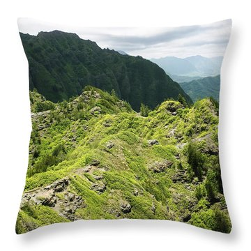 Lush Hawaiian Mountains Throw Pillow by Charmian Vistaunet