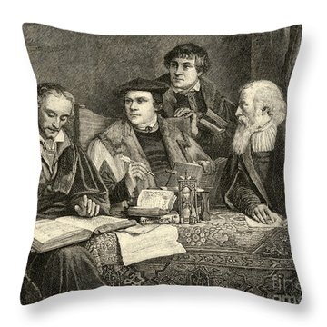 Luther Melancthon Pomeranus And Cruciger Translating  Throw Pillow by English School