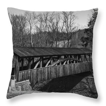Luther's Mill Covered Bridge Black And White Throw Pillow