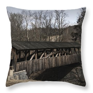 Luther's Mill Covered Bridge Throw Pillow