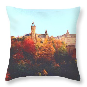 Luxembourg City Skyline Throw Pillow