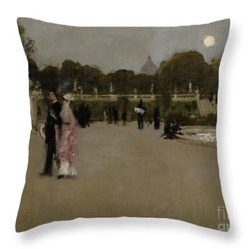 Luxembourg Gardens At Twilight Throw Pillow by John Singer Sargent