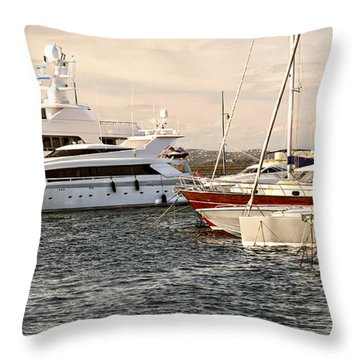 Luxury Boats At St.tropez Throw Pillow by Elena Elisseeva