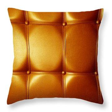 Luxury Genuine Leather. Golden Color Throw Pillow by Michal Bednarek