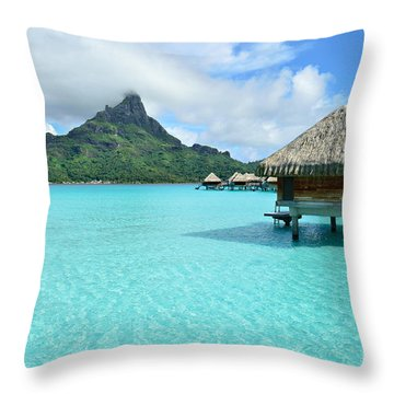 Luxury Overwater Vacation Resort On Bora Bora Island Throw Pillow