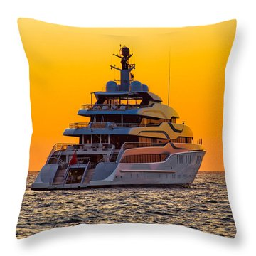 Luxury Yacht On Open Sea At Sunset Throw Pillow by Brch Photography