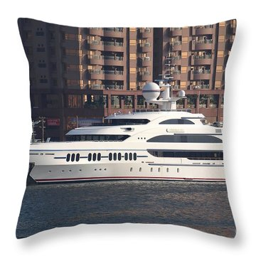 Luxury Yacht Visits Kaohsiung Port Throw Pillow by Yali Shi