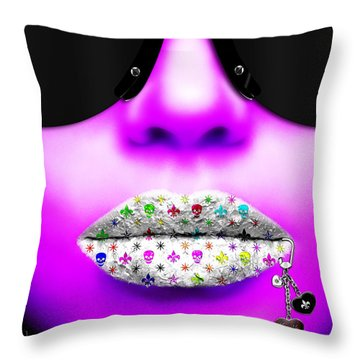 Kiss Me Purple Throw Pillow