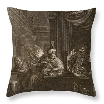 Lycaon Metamorphosed Into A Wolf, 1731 Throw Pillow by Bernard Picart