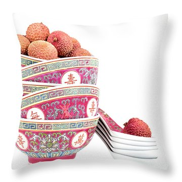 Lychees In Bowls With Spoons Throw Pillow by Jane Rix