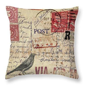 Lyda Compton Postcard Throw Pillow