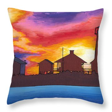 Lydia Anne Lighthouse At Sunset Throw Pillow