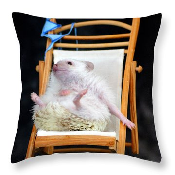 Lyla Sunbathing Throw Pillow by Paul  Wilford