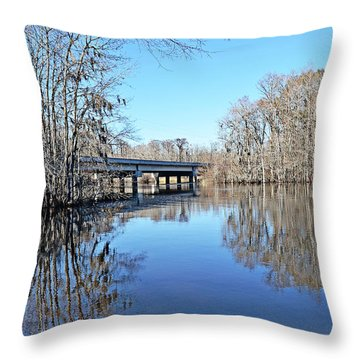Throw Pillow featuring the photograph Lynches River Fisherman by Linda Brown