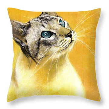 Throw Pillow featuring the drawing Lynx Point Siamese by VLee Watson