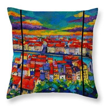 Lyon Panorama Triptych Throw Pillow