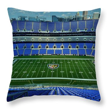 M And T Bank Stadium Throw Pillow by Robert Geary