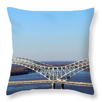 Throw Pillow featuring the photograph M Bridge Memphis Tennessee by Barbara Chichester