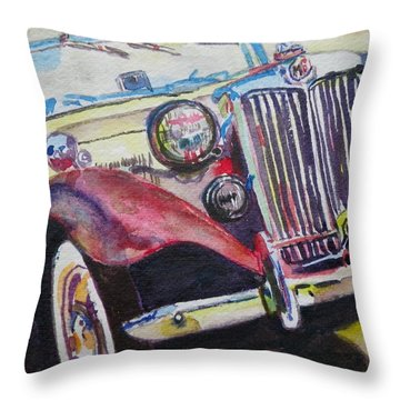 M G Car  Throw Pillow by Anna Ruzsan