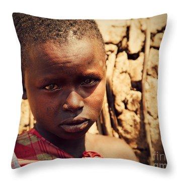 Maasai Child Portrait In Tanzania Throw Pillow by Michal Bednarek