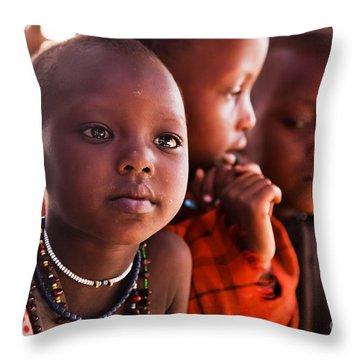 Maasai Children In School In Tanzania Throw Pillow by Michal Bednarek