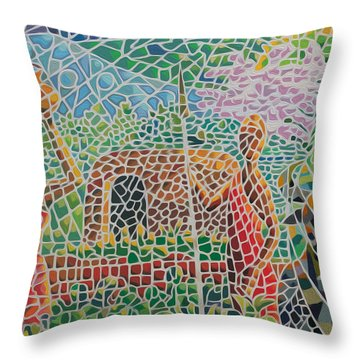Maasai Couple And Cow Throw Pillow by Anthony Mwangi