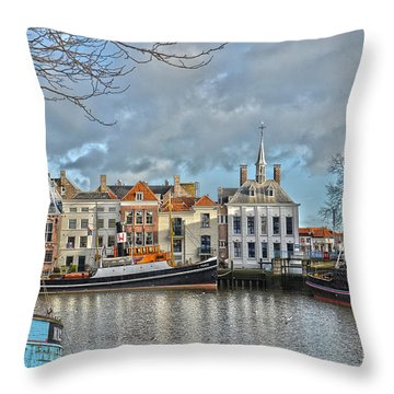Maassluis Harbour Throw Pillow