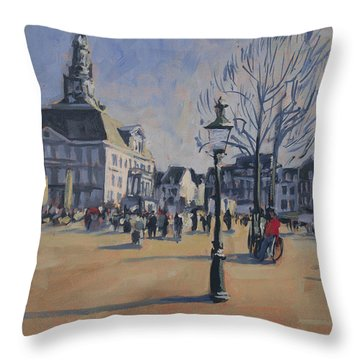 Throw Pillow featuring the painting Maastricht On The Last Day Of 2014 by Nop Briex