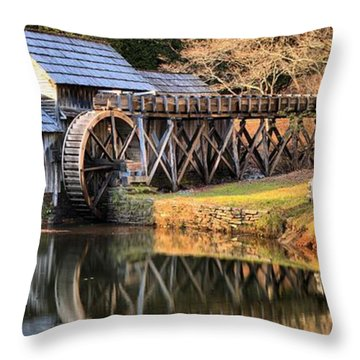 Mabry Grist Mill Fall Panorama Throw Pillow