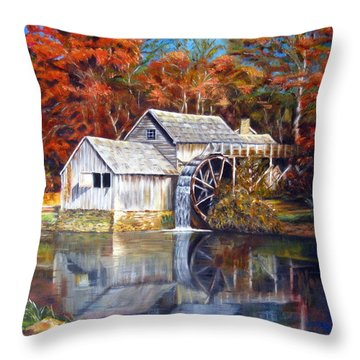 Throw Pillow featuring the painting Mabry Mill Blue Ridge Virginia by LaVonne Hand