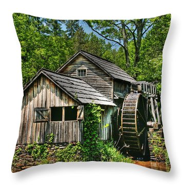 Mabry Mill Throw Pillow by Heather Allen