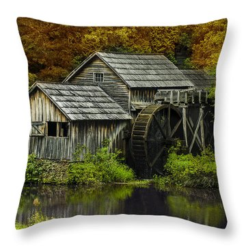 Mabry Mill In Autumn Throw Pillow