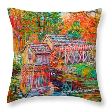 Mabry Mill In Fall Throw Pillow