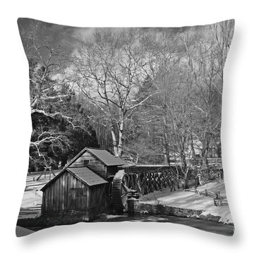 Mabry Mill In Snow Throw Pillow