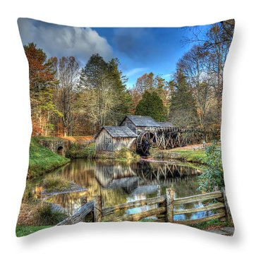 Mabry Mill Throw Pillow by Jaki Miller