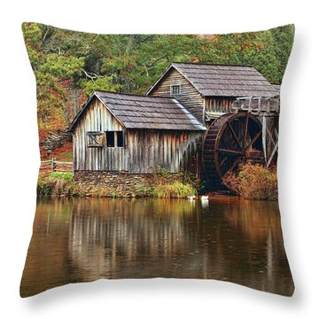 Mabry Mill Throw Pillow by Marcia Colelli