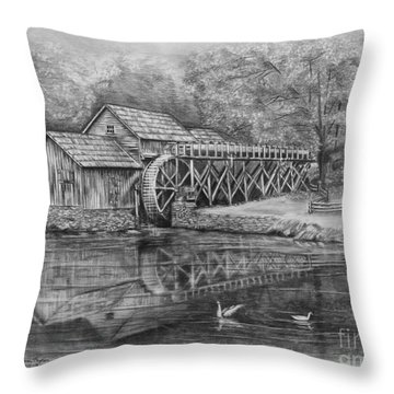 Mabry Mill Pencil Drawing Throw Pillow