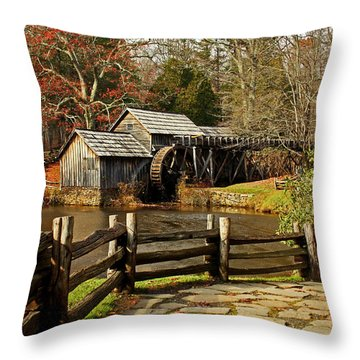 Throw Pillow featuring the photograph Mabry Mill by Suzanne Stout