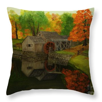 Mabry Mill Throw Pillow by Timothy Smith