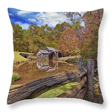 Mabry Mill Virginia Throw Pillow by Marcia Colelli
