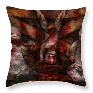 Macabre - Dolls - Having A Friend For Dinner Throw Pillow by Mike Savad