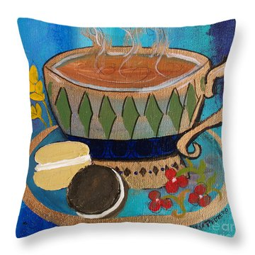 Throw Pillow featuring the painting Macaroons And Tea by Robin Maria Pedrero