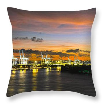 Throw Pillow featuring the photograph Macarthur Causeway Bridge by Gary Dean Mercer Clark