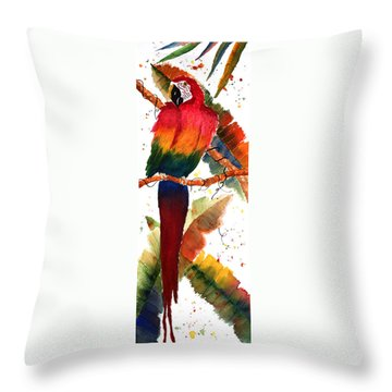 Macaw Feathers Throw Pillow by Patricia Novack