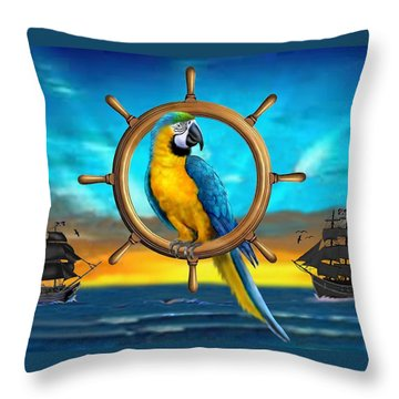 Macaw Pirate Parrot Throw Pillow by Glenn Holbrook